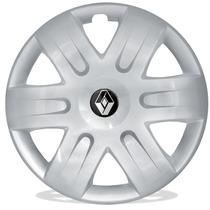 Jogo Calota Aro 15 Renault Sandero Logan Scenic + Emblema