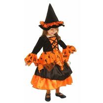 Disfraz Brujita Niña Bruja Halloween Naranja