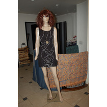 47 Street Vestido De Gasa Color Negro Con Detalle De Volados