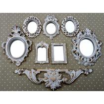 Kit 7 Molduras Ouro Provençal Já Com Espelhos Decorativos
