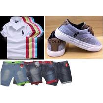 Conjunto Infantil Polo Completo Camisa Short Jeans E Tenis