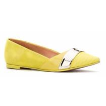 Zapatos De Piso Flats Andrea Amarillos Grabado Cocodrilo