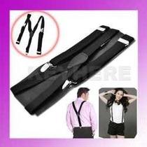 Tirantes Negros Con Broche De Metal Ajustables Para Pantalon
