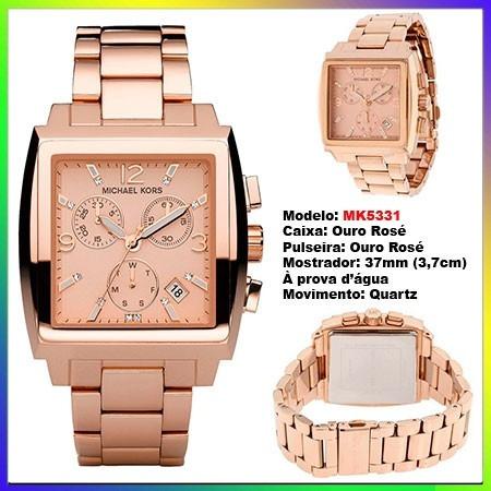 b1c701771e3 Relógio Michael Kors Mk5331 Quadrado Ourorosê 37mm Oversize - R  1.574