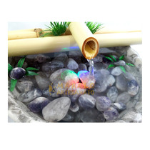 Fonte Bambu Meditação Ametista Pedra Água Luz Yoga Feng Shui
