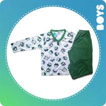 Pijama Menino Com Calça Blusa 3 4 Anos Tamanho 4 Frio Verde