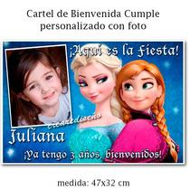 Cumpleaños Frozen - Cartel Bienvenida Personalizado Con Foto