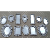 Kit 12 Mini Espelhos Com Molduras Em Resina Estilo Provençal