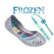 Nova Sapatilha Frozen Let It Go Brinde Cetro Com Fita 21401