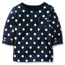 Blusa Camisa Carters Manga 3/4 Azul 4 Anos Bolinhas Poa