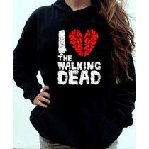 Blusa Moletom I Love The Walking Dead Canguru Com Capuz