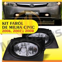 Kit Farol De Milha New Civic 2006 2007 2008 Botão Original