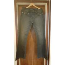 Linda Flare Black Jeans Com Spikes Da Siberian