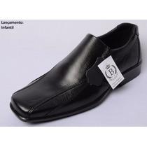 Sapato Social Masculino, Infantil, Bico Quadrado, 100% Couro