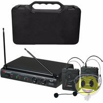Microfone Duplo Karsect Auricular Uhf Headset Loja Kadu Som