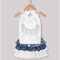 Conjunto Infantil Bordado Com Renda Feminino Branco C/ Jeans