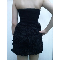 Vestido Corto Strapless Falda Tul C/flores En Tela..original