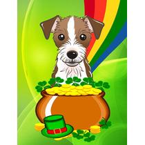 Jack Russell Terrier St Patrick Tamaño Bandera Día Jardín