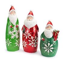 Decoración Conjunto De 3 Santa Claus En Traje Brillado Copo