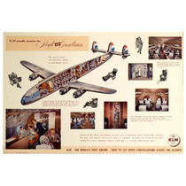 Lienzo Tela Anuncio Klm Holanda 1955 50 X 75 Cm Poster Avión