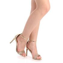 Sandália Salto Feminina Lara - Ouro