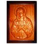 Quadro Virgem Maria Escultura Madeira Entalhada Alto Relevo