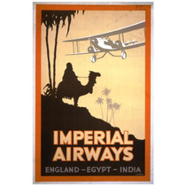 Lienzo Tela Anuncio Imperial Airways Inglaterra 75 X 50 Cm