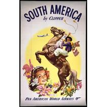 Lienzo Tela Anuncio Pan Am Sur América 80 X 50 Cm Poster