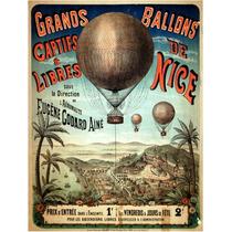 Lienzo Tela Anuncio Globo Aeroestatico 1898 65 X 50cm Poster