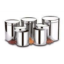 Conjunto De Potes Para Mantimentos Inox Suprema 5 Peças