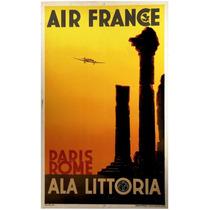 Lienzo Tela Anuncio Air France Paris Roma 80 X 50 Cm Avión
