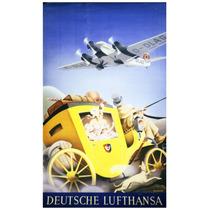 Lienzo Tela Anuncio Lufthansa Alemania 80 X 50 Cm Aviación