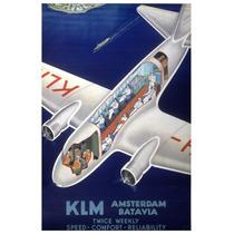 Lienzo Tela Anuncio Klm Holanda 1950 77 X 50 Cm Poster Avión