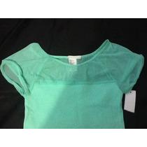 Blusa Para Niña Talla 14 Color Verde Aqua Nueva!