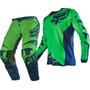 Traje Fox 180 Race Color Verde/azul Pantalon 34 Y Jersey M