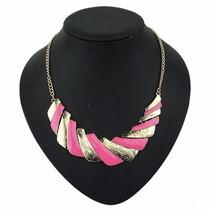 Collar Dorado Con Rosa Casual Dama