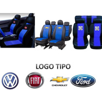 Capa Banco Automotivo Preta Com Azul Fiat Gm Ford Volks