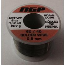 Rollo De Estaño 60/40 227gr Nucleo De Resina, 0.8mm Calidad
