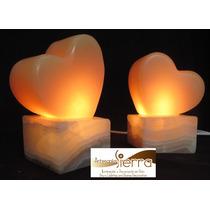 4 Lámparas De Onix Corazón 15 Cms.altura