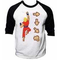 Camisa Raglan 3/4 Street Fighter Collection Ken Shoryuken