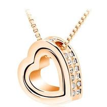 Collar Dije Corazon Dual Cristal Swarovski Elements