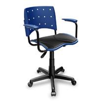 Cadeira Escritório Giratória Com Braço E Estofado Azul