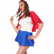 Disfraz Sexy Para Dama Blanca Nieves Vestido Capa Table Danc
