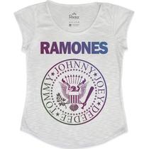 T-shirt Camiseta Feminina Ramones Colorida