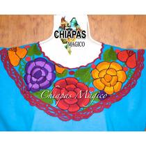 Blusa Celeste Bordada A Máquina De Zinacantán, Chiapas (m)