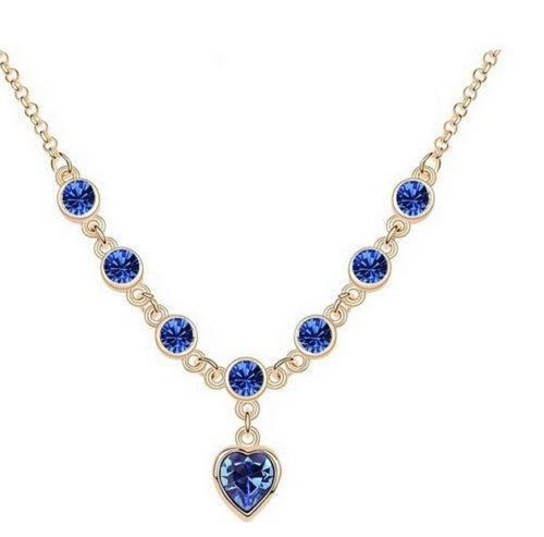 Collar piedras azules oro laminado blanco en - Piedras para collares ...