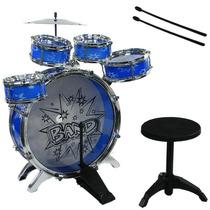 Bateria Musical Infantil Com Banquinho 28807 Azul - Fênix