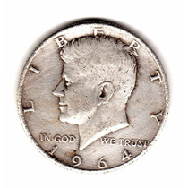 Estados Unidos Usa Half Dollar De Plata 900 Año 1964
