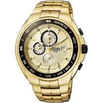 Relógio Citizen Dourado Fundo Champaign Cronográfo + Frete