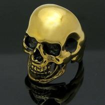 Anillo Cráneo Calavera Oro 24k / Bronce Celta Choper Rock